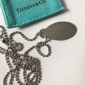 Authentic Tiffany & Co Oval Tag Necklace